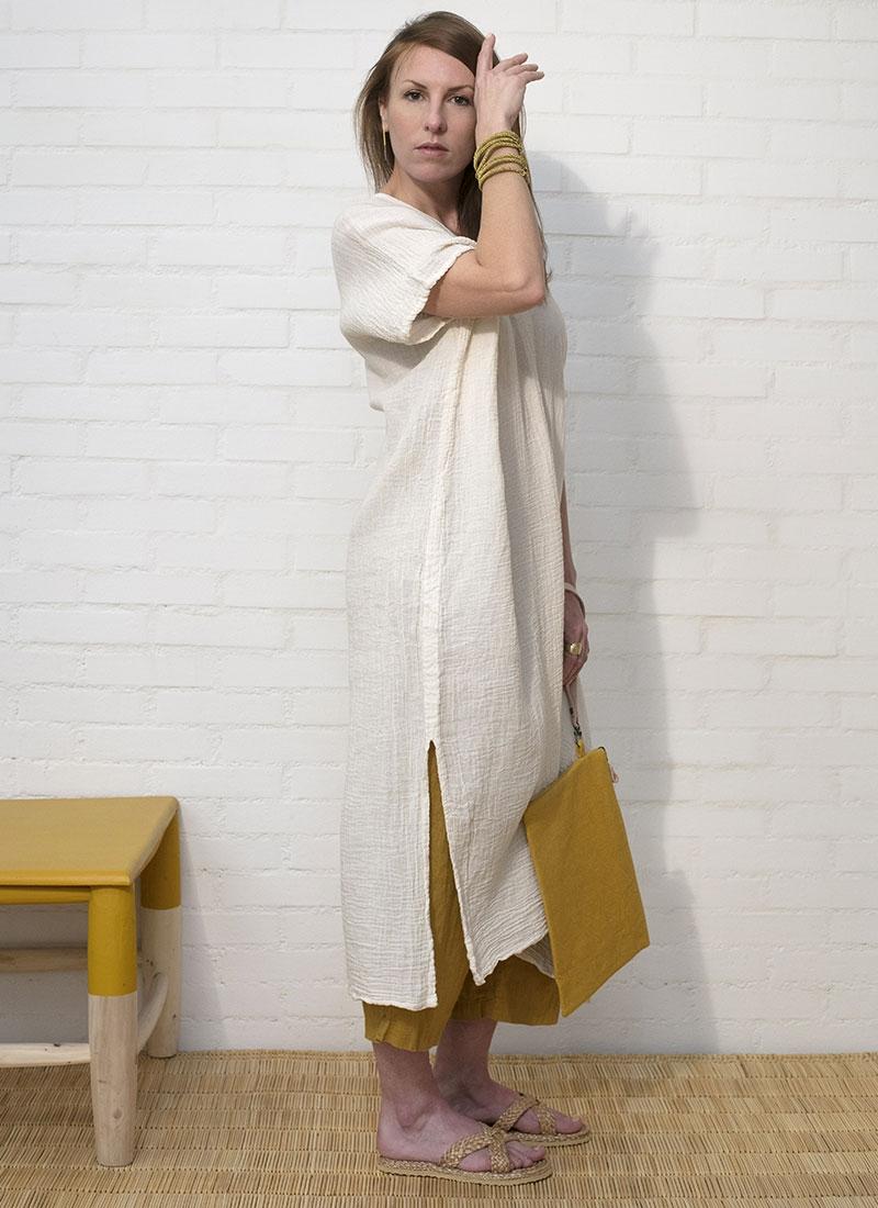 Robe en coton gaufré