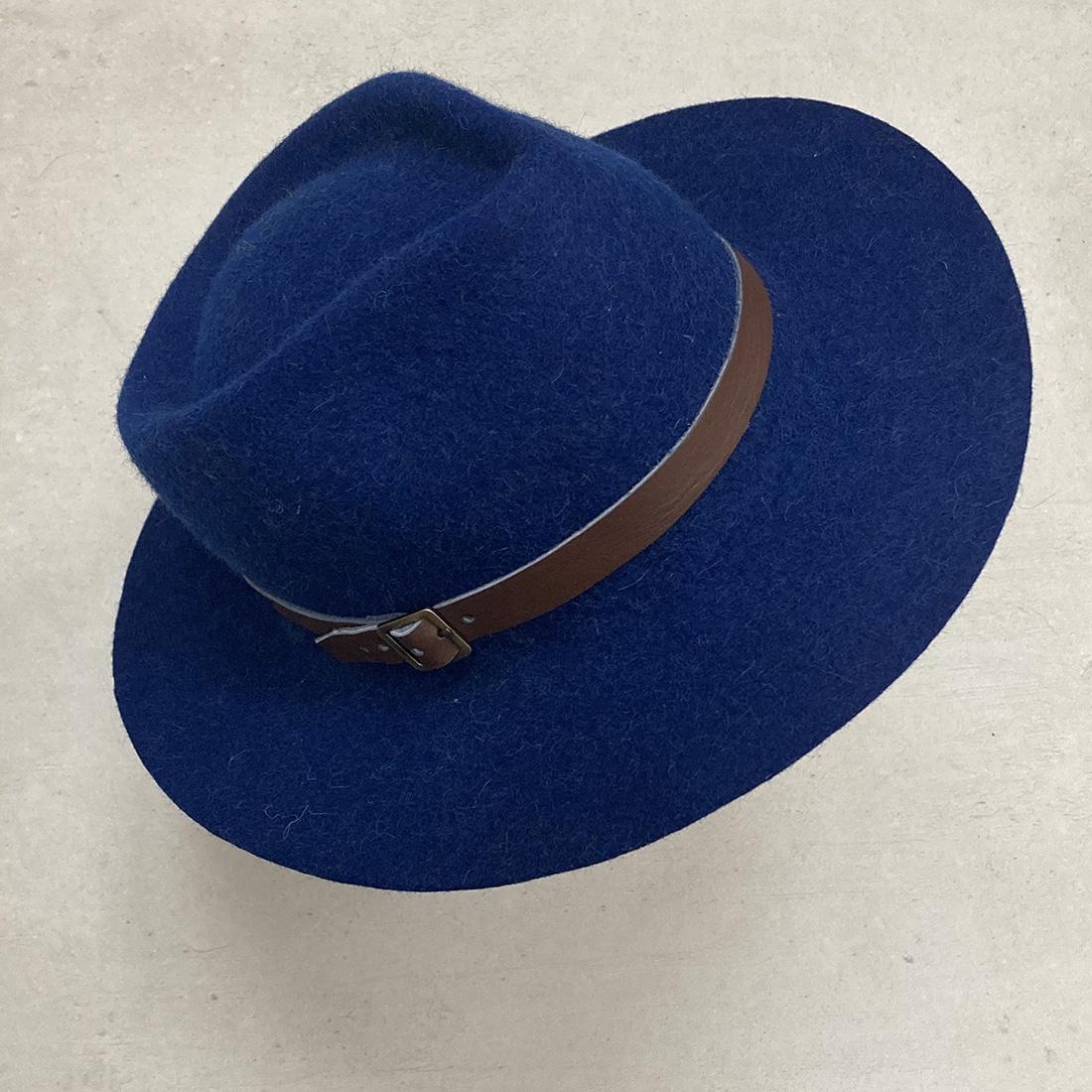 Chapeau bord long en Alpaga - Bleu