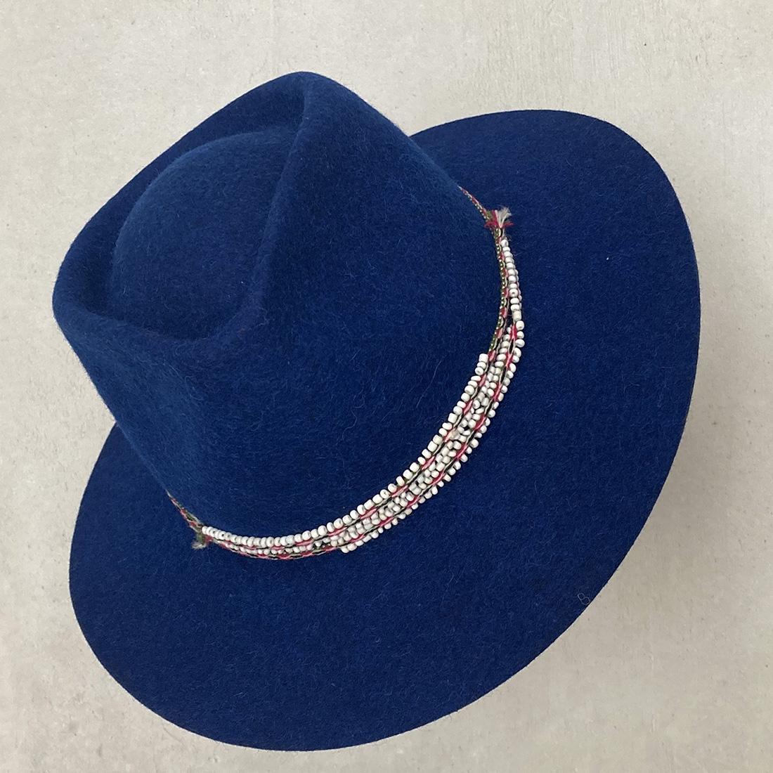 Chapeau bord court en Alpaga - Bleu